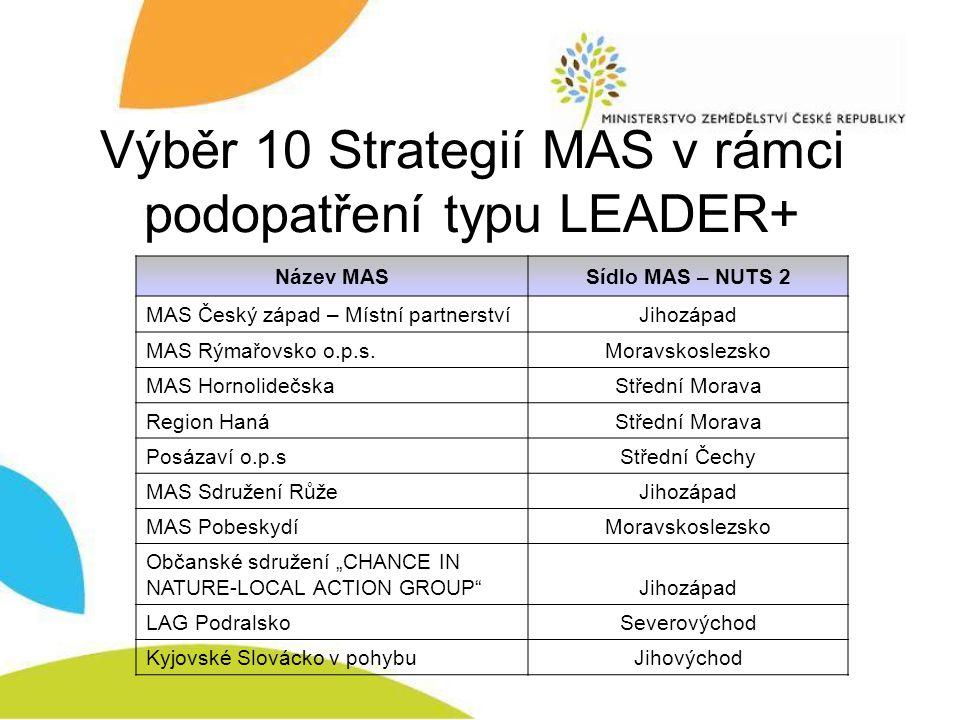 Výběr 10 Strategií MAS v rámci podopatření typu LEADER+