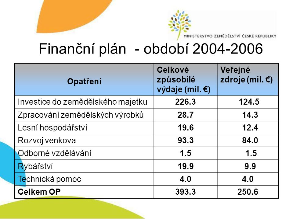 Finanční plán - období 2004-2006
