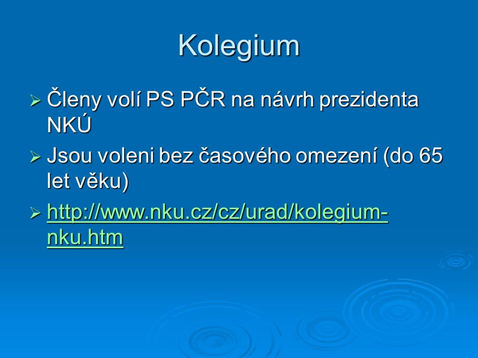 Kolegium Členy volí PS PČR na návrh prezidenta NKÚ