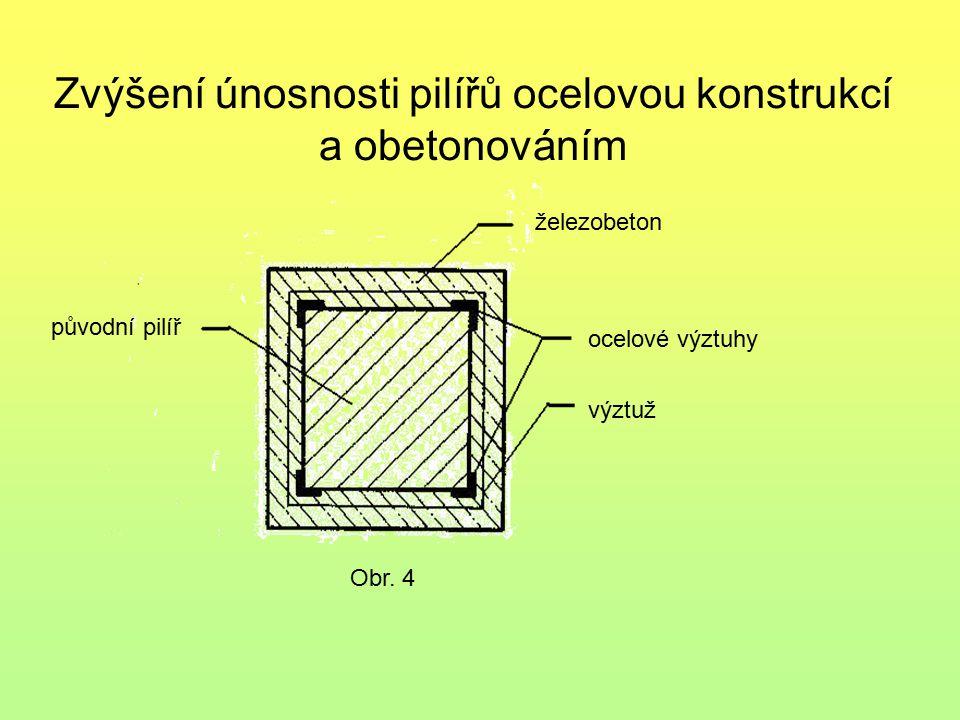 Zvýšení únosnosti pilířů ocelovou konstrukcí a obetonováním