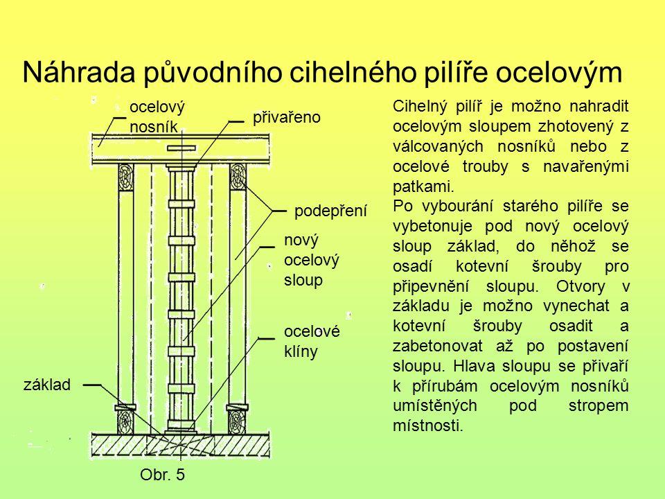 Náhrada původního cihelného pilíře ocelovým