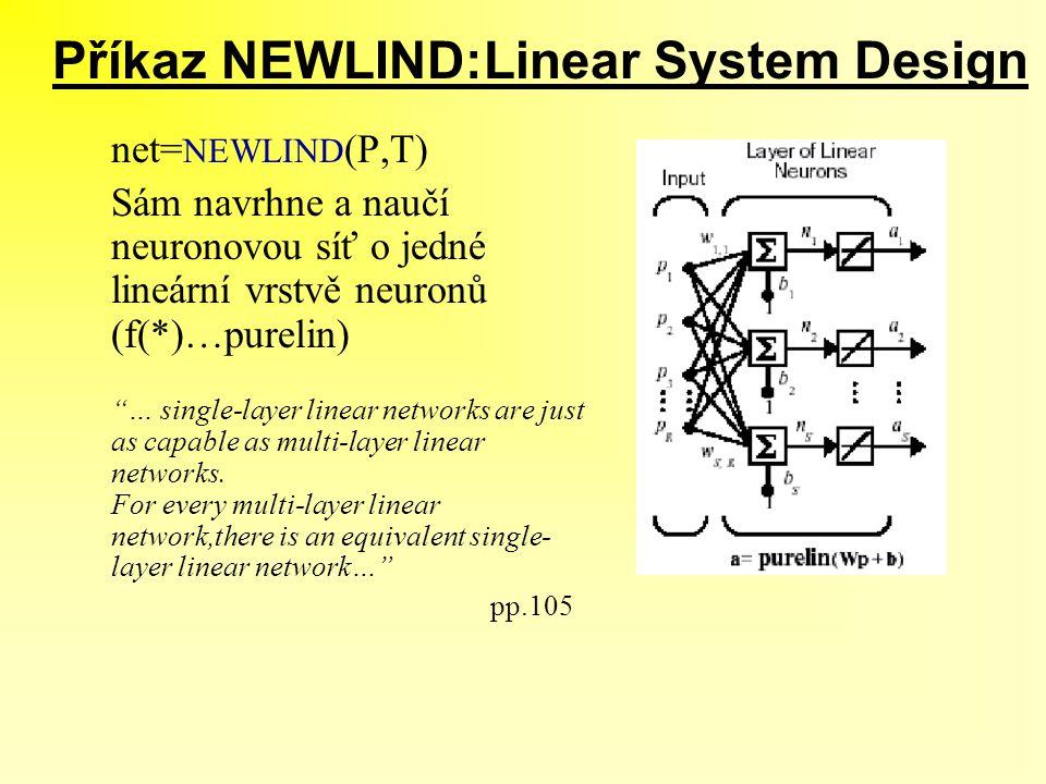 Příkaz NEWLIND:Linear System Design