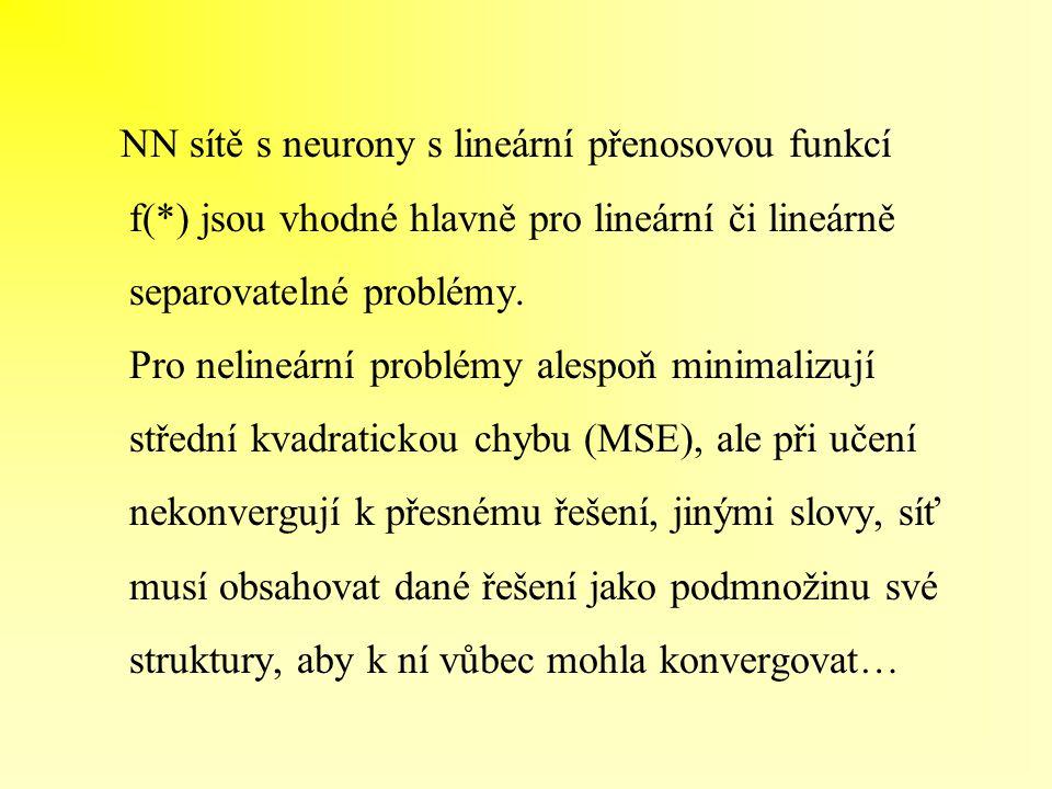 NN sítě s neurony s lineární přenosovou funkcí f(