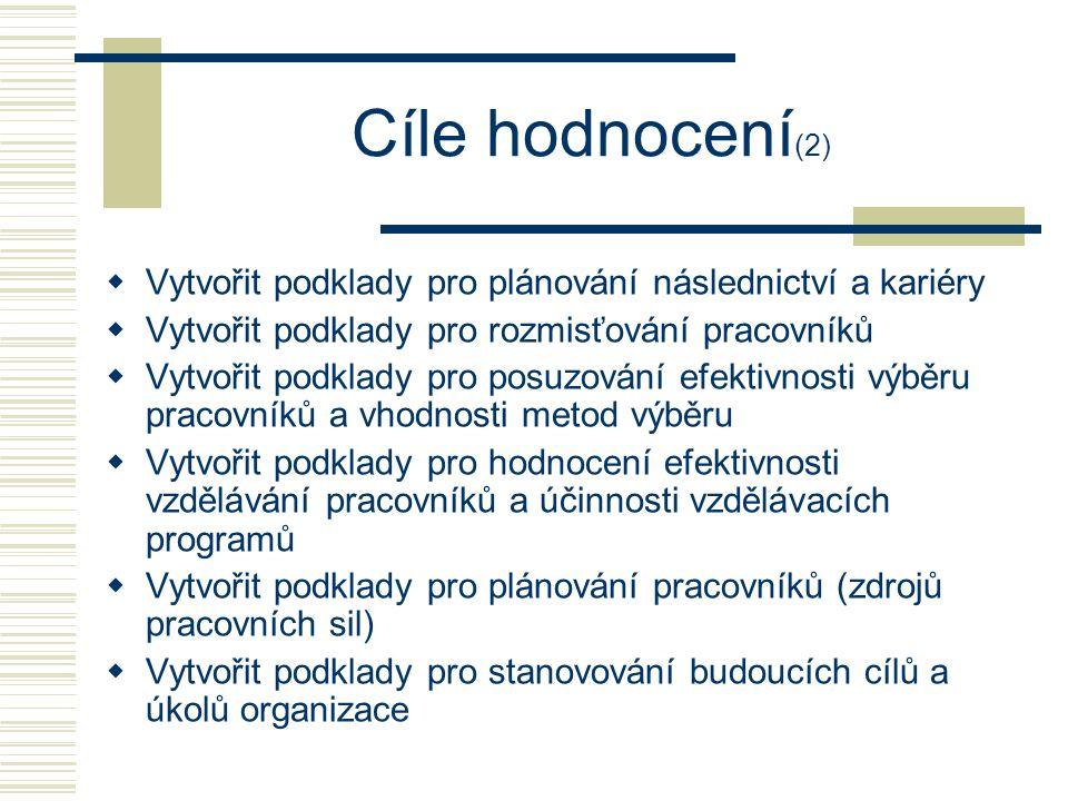 Cíle hodnocení(2) Vytvořit podklady pro plánování následnictví a kariéry. Vytvořit podklady pro rozmisťování pracovníků.
