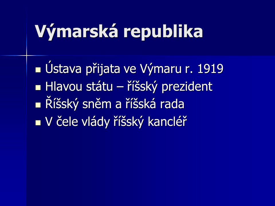 Výmarská republika Ústava přijata ve Výmaru r. 1919