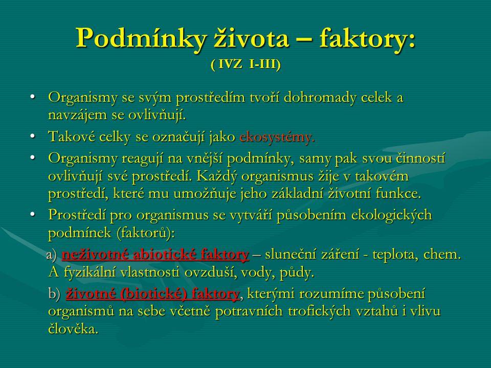 Podmínky života – faktory: ( IVZ I-III)