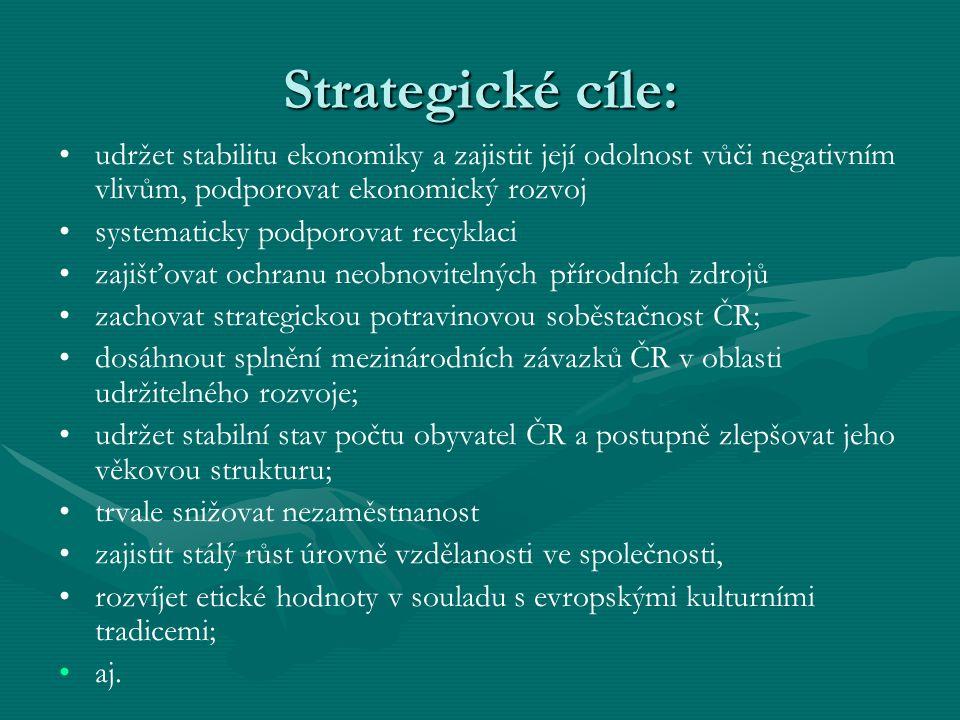 Strategické cíle: udržet stabilitu ekonomiky a zajistit její odolnost vůči negativním vlivům, podporovat ekonomický rozvoj.