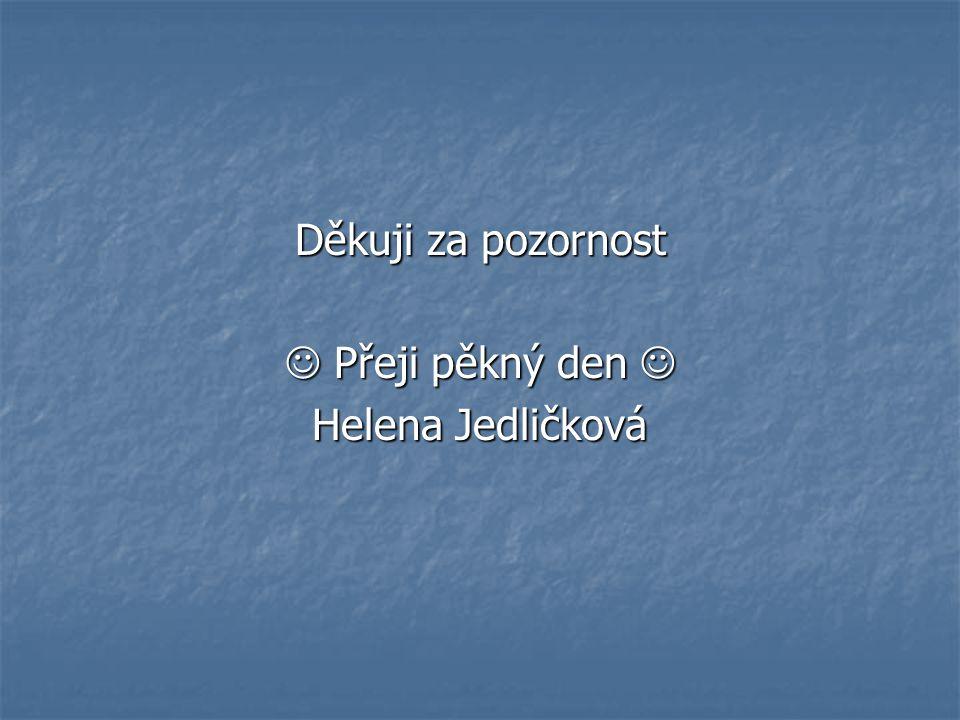 Děkuji za pozornost  Přeji pěkný den  Helena Jedličková