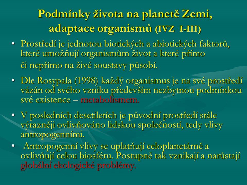 Podmínky života na planetě Zemi, adaptace organismů (IVZ I-III)
