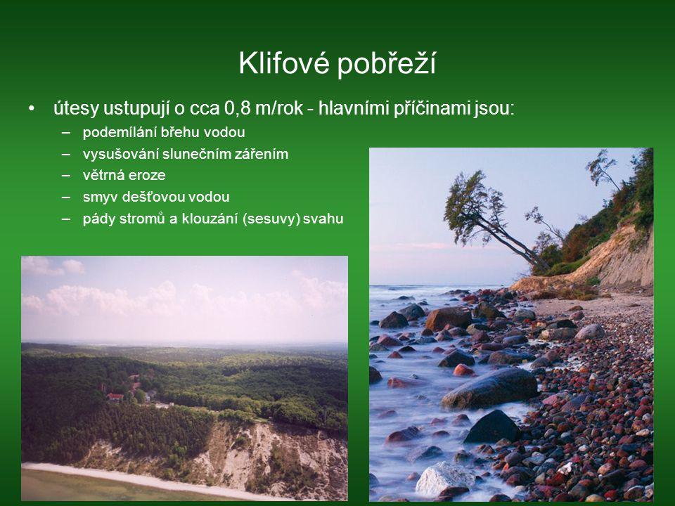 Klifové pobřeží útesy ustupují o cca 0,8 m/rok - hlavními příčinami jsou: podemílání břehu vodou. vysušování slunečním zářením.