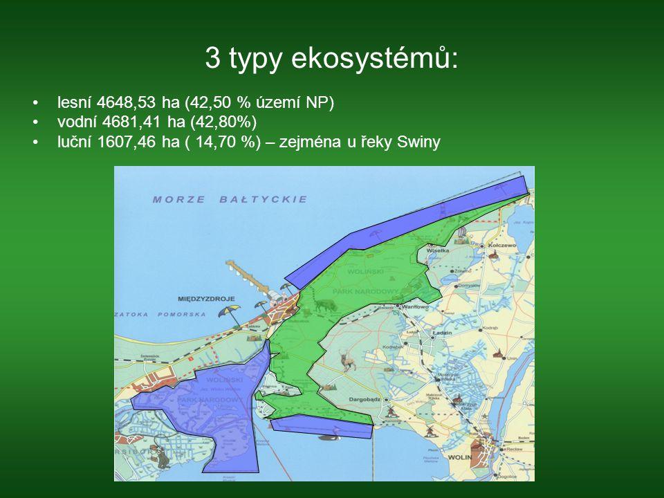3 typy ekosystémů: lesní 4648,53 ha (42,50 % území NP)