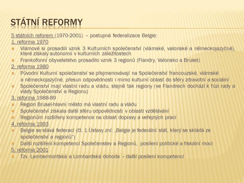 Státní Reformy 5 státních reforem (1970-2001) – postupná federalizace Belgie: 1. reforma 1970.