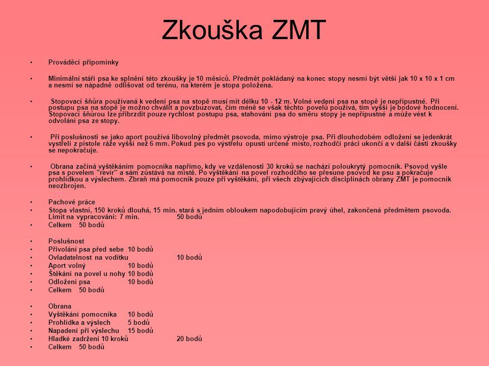 Zkouška ZMT Prováděcí připomínky
