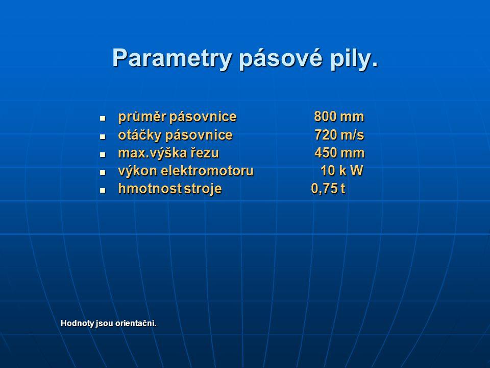 Parametry pásové pily. průměr pásovnice 800 mm