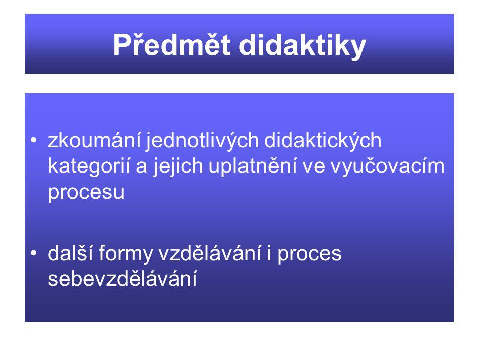 Předmět didaktiky zkoumání jednotlivých didaktických kategorií a jejich uplatnění ve vyučovacím procesu.