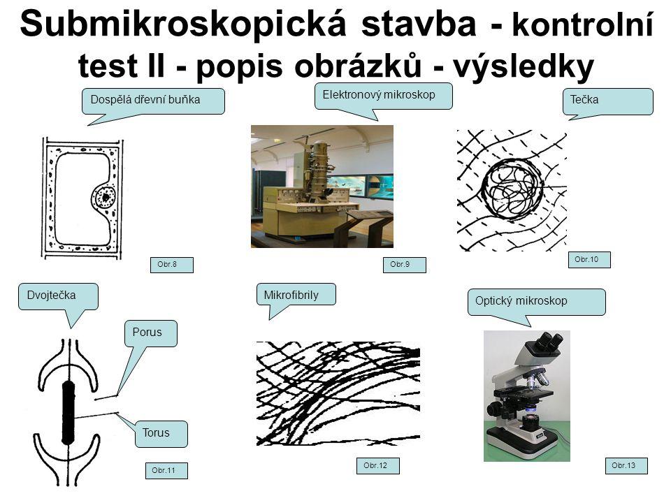 Submikroskopická stavba - kontrolní test II - popis obrázků - výsledky