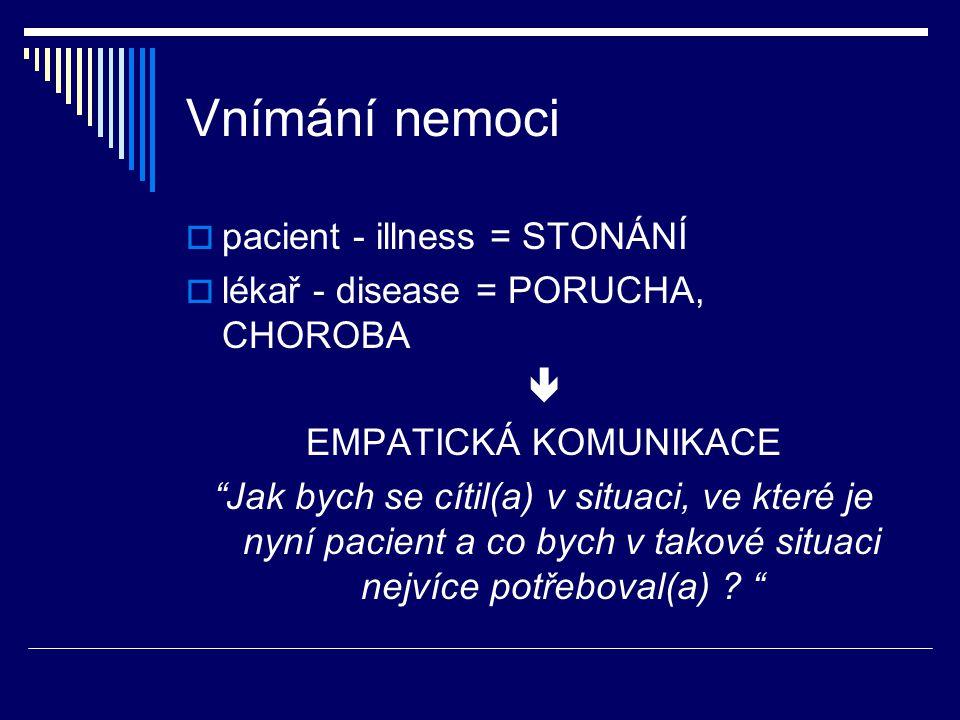 Vnímání nemoci pacient - illness = STONÁNÍ