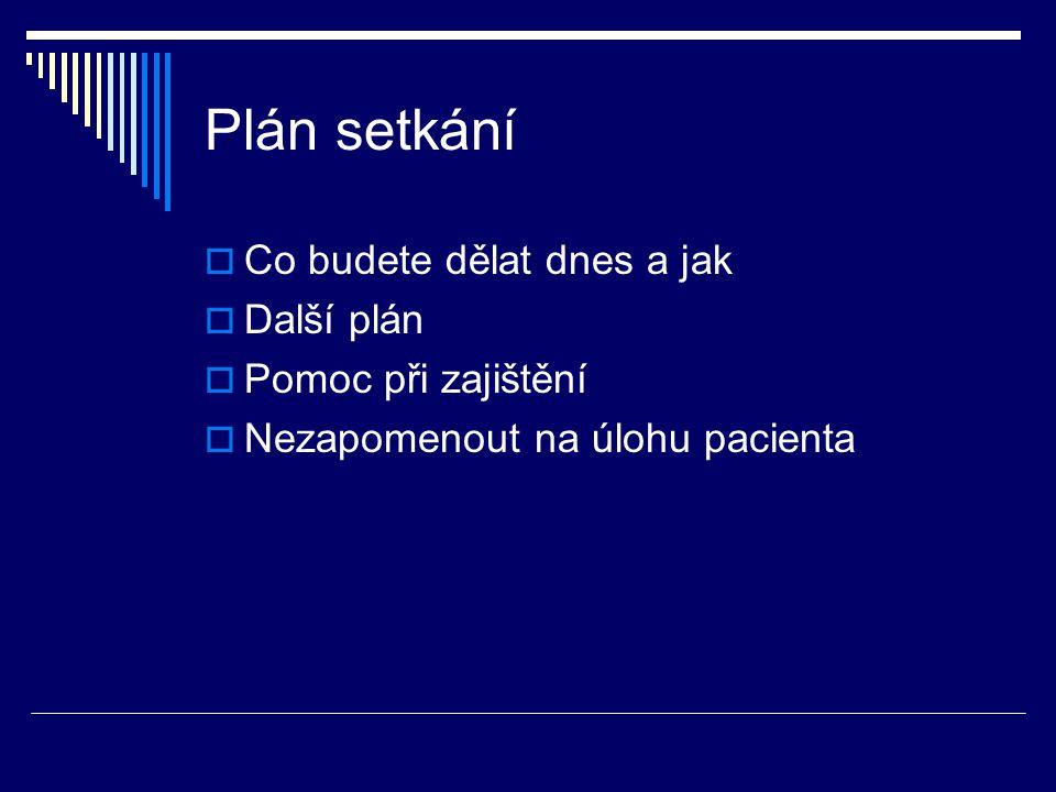 Plán setkání Co budete dělat dnes a jak Další plán Pomoc při zajištění