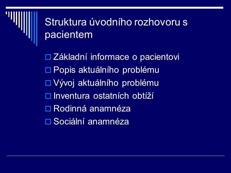 Struktura úvodního rozhovoru s pacientem