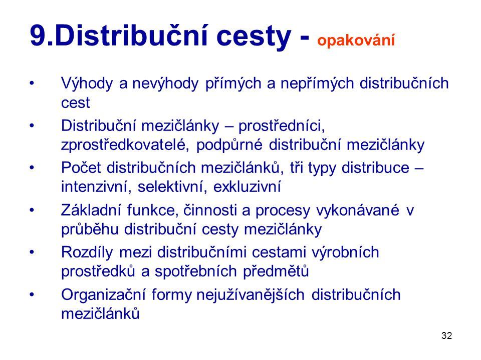 9.Distribuční cesty - opakování