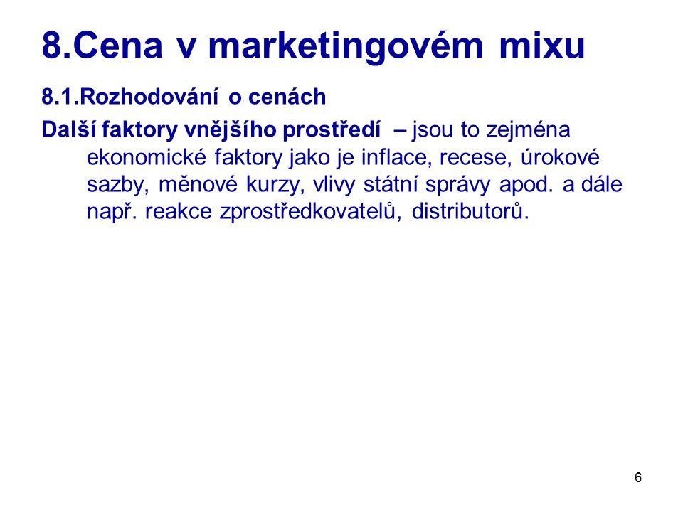 8.Cena v marketingovém mixu