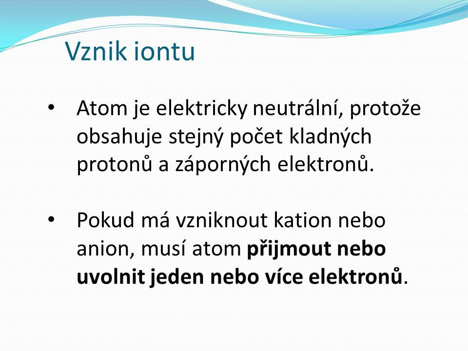 Vznik iontu Atom je elektricky neutrální, protože obsahuje stejný počet kladných protonů a záporných elektronů.