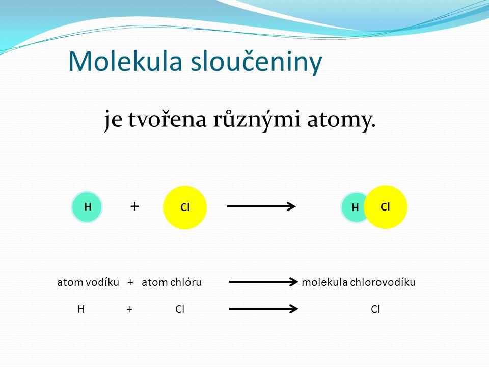 je tvořena různými atomy.