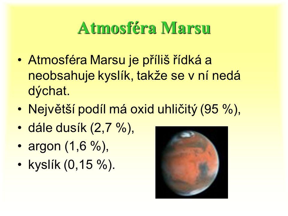 Atmosféra Marsu Atmosféra Marsu je příliš řídká a neobsahuje kyslík, takže se v ní nedá dýchat. Největší podíl má oxid uhličitý (95 %),