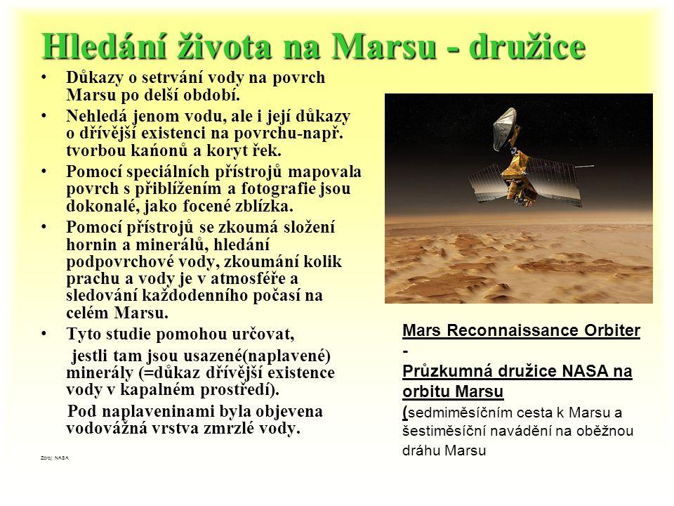 Hledání života na Marsu - družice