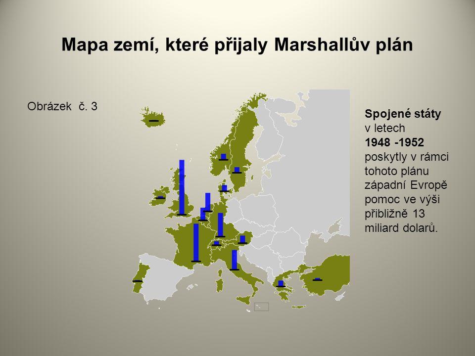 Mapa zemí, které přijaly Marshallův plán