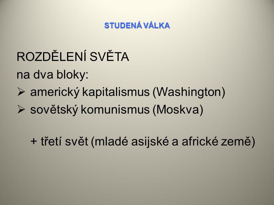 americký kapitalismus (Washington) sovětský komunismus (Moskva)