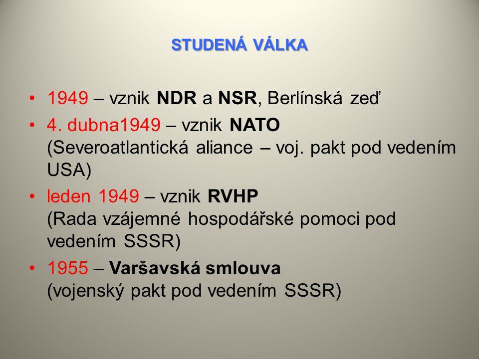 1949 – vznik NDR a NSR, Berlínská zeď