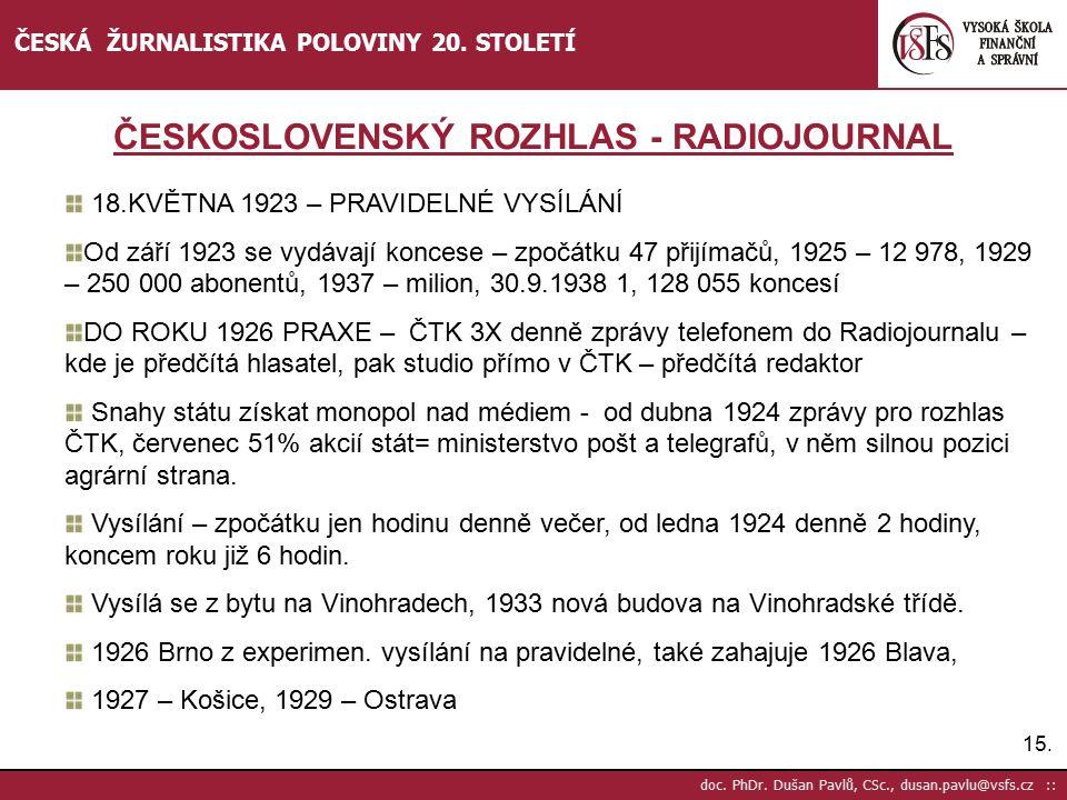 ČESKOSLOVENSKÝ ROZHLAS - RADIOJOURNAL
