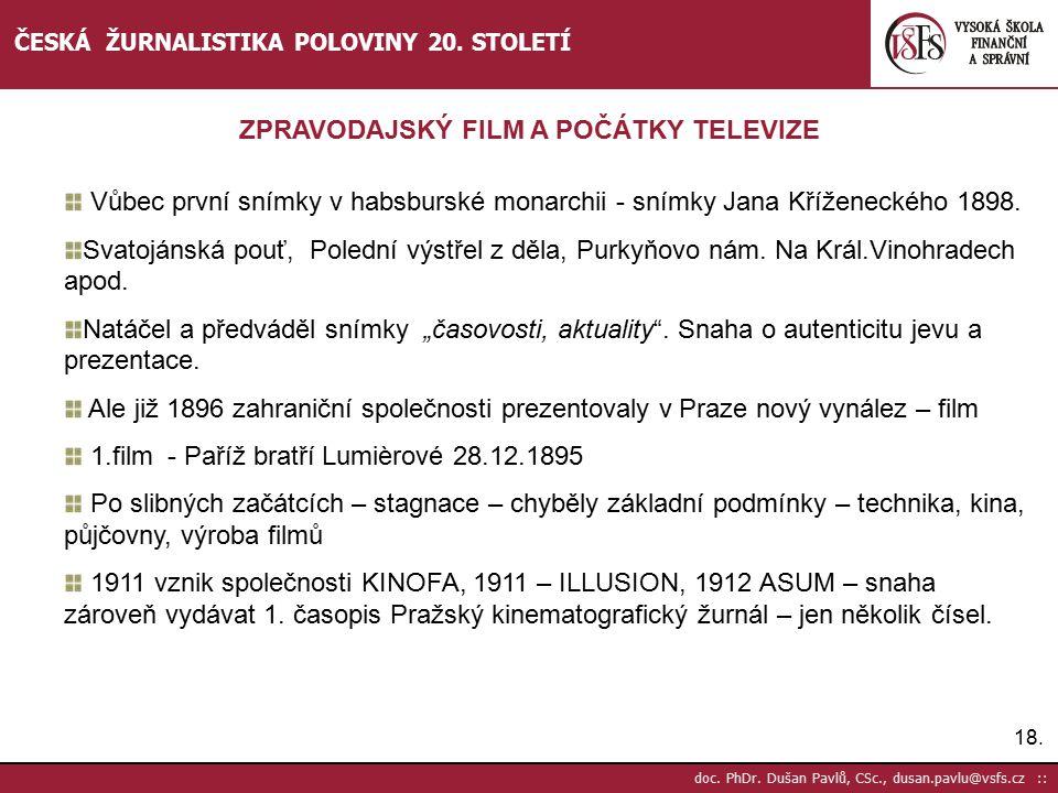 ZPRAVODAJSKÝ FILM A POČÁTKY TELEVIZE