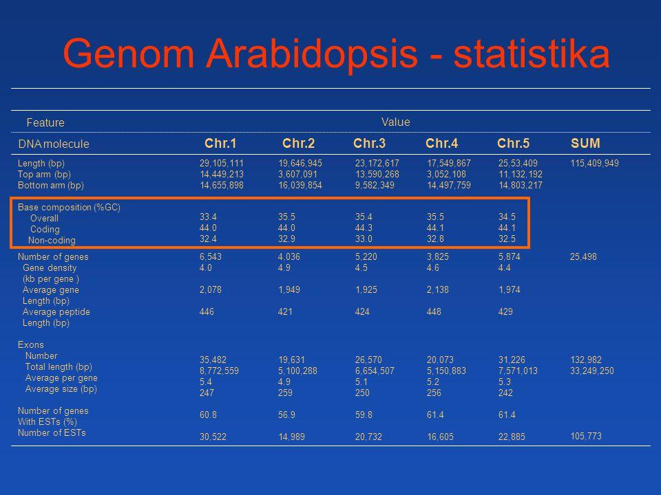 Genom Arabidopsis - statistika
