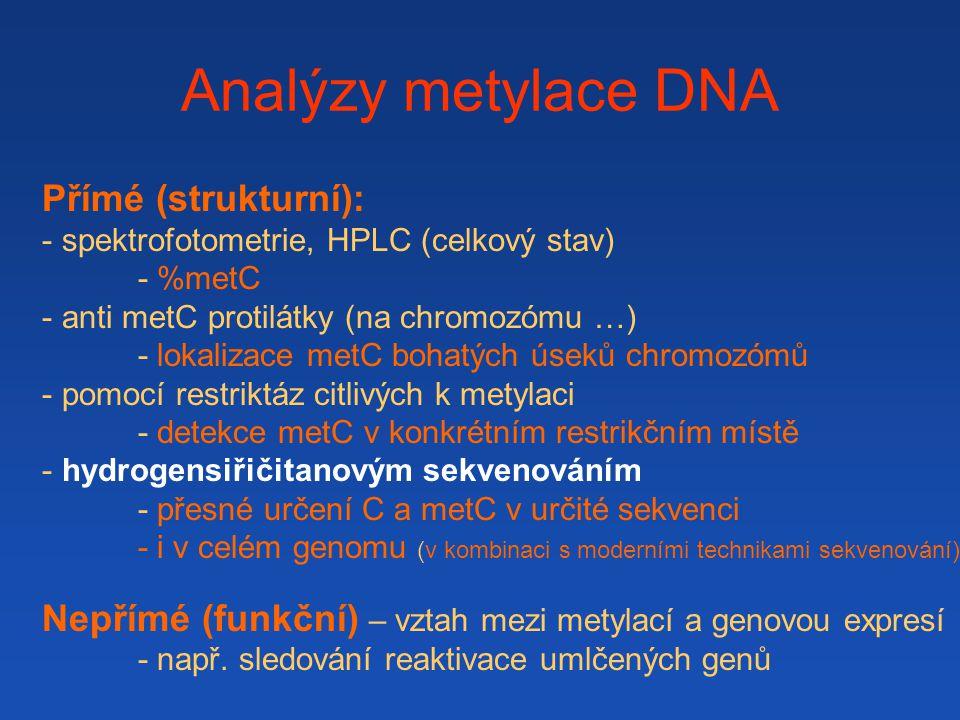 Analýzy metylace DNA Přímé (strukturní):