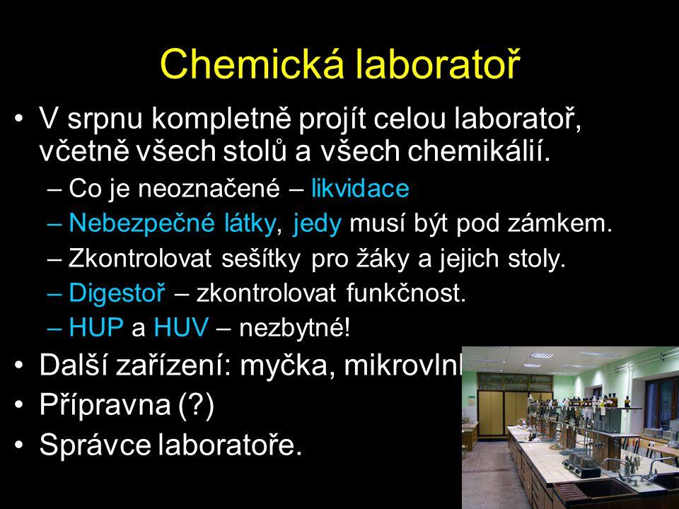 Chemická laboratoř V srpnu kompletně projít celou laboratoř, včetně všech stolů a všech chemikálií.