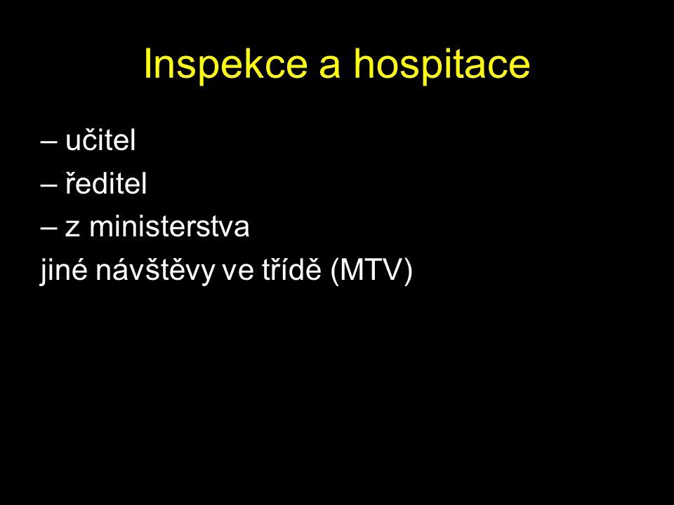 Inspekce a hospitace – učitel – ředitel – z ministerstva