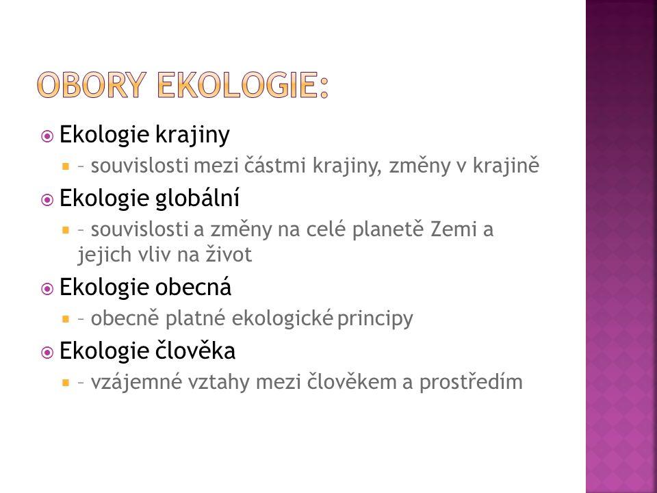 Obory ekologie: Ekologie krajiny Ekologie globální Ekologie obecná