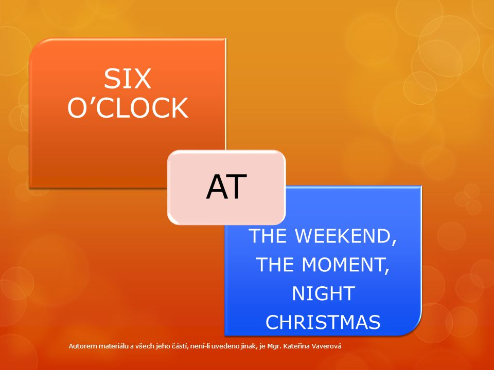 AT SIX O'CLOCK THE WEEKEND, THE MOMENT, NIGHT CHRISTMAS
