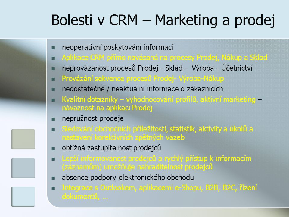 Bolesti v CRM – Marketing a prodej