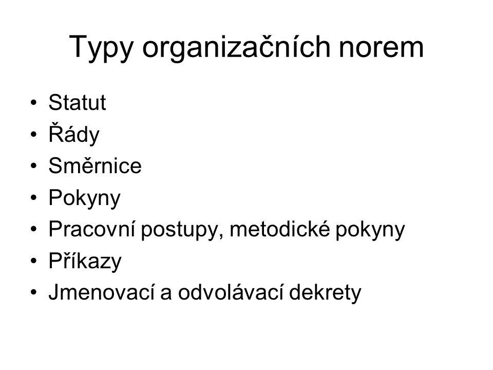 Typy organizačních norem