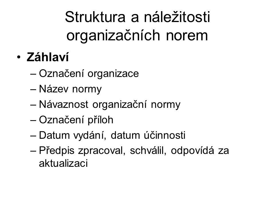 Struktura a náležitosti organizačních norem