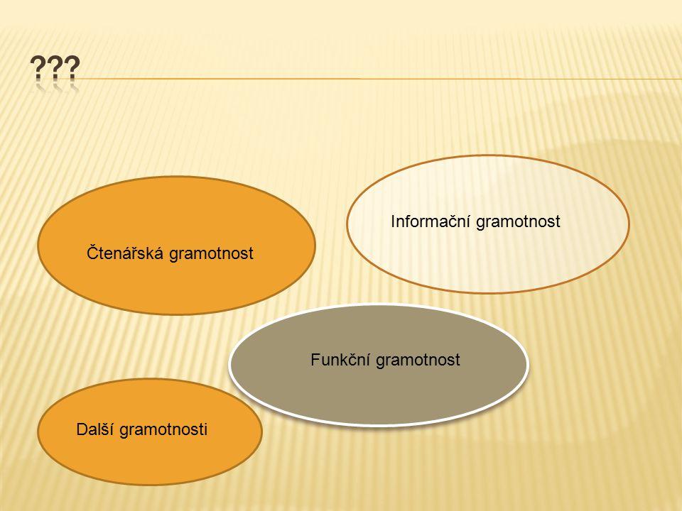 Informační gramotnost Čtenářská gramotnost Funkční gramotnost