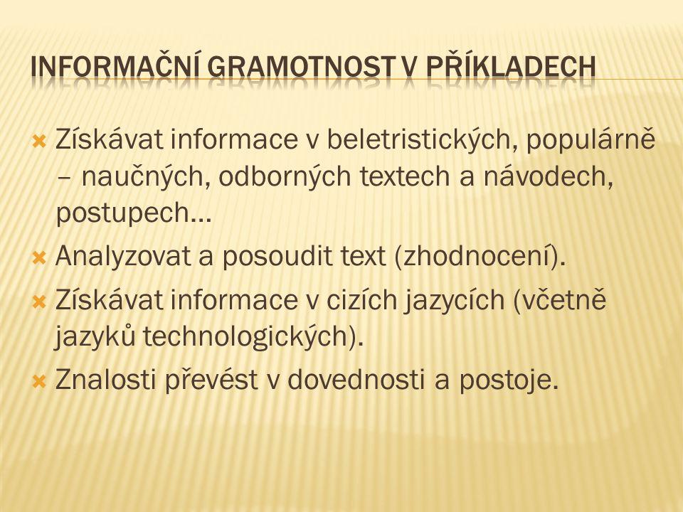 Informační gramotnost v příkladech