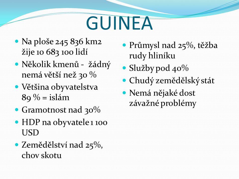 GUINEA Na ploše 245 836 km2 žije 10 683 100 lidí