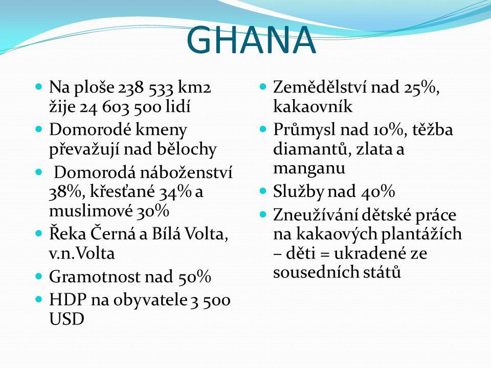 GHANA Na ploše 238 533 km2 žije 24 603 500 lidí