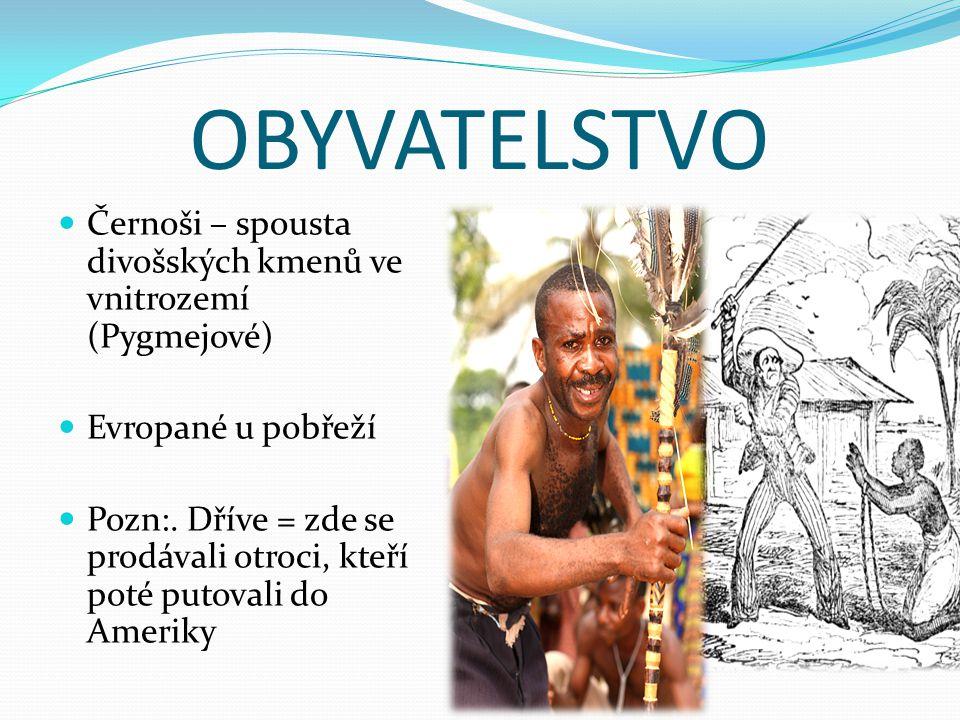 OBYVATELSTVO Černoši – spousta divošských kmenů ve vnitrozemí (Pygmejové) Evropané u pobřeží.