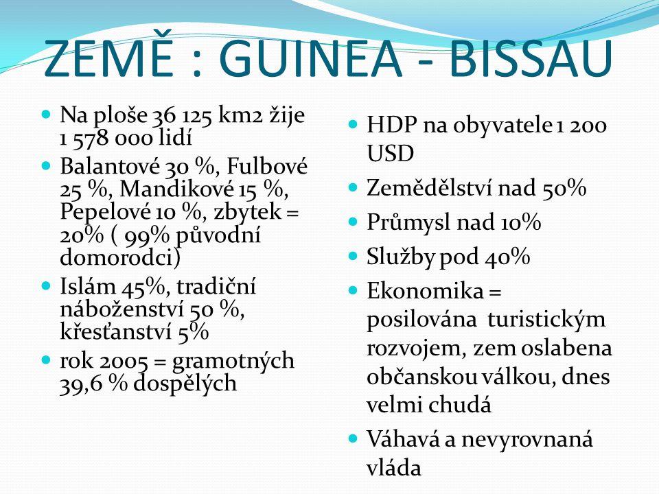 ZEMĚ : GUINEA - BISSAU Na ploše 36 125 km2 žije 1 578 000 lidí