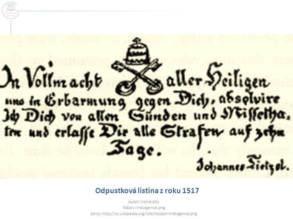 Odpustková listina z roku 1517